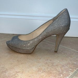 Enzo Angiolini Silver Sparkly Open Toe Heels